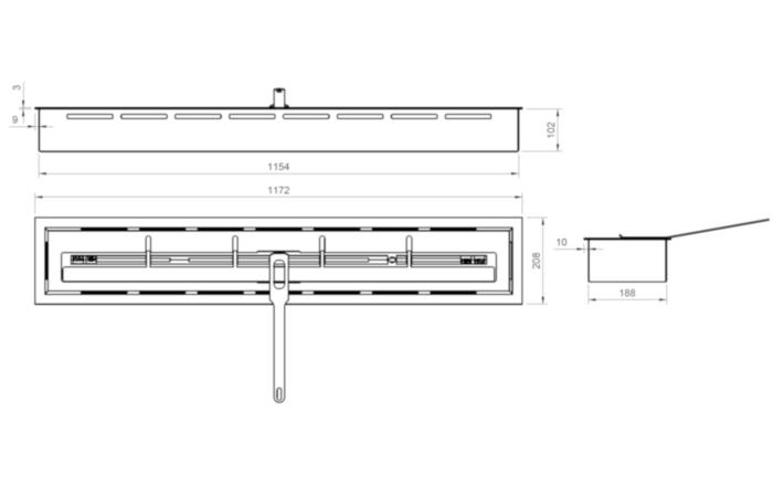 ARTFLAME 1100 - Rysunek techniczny